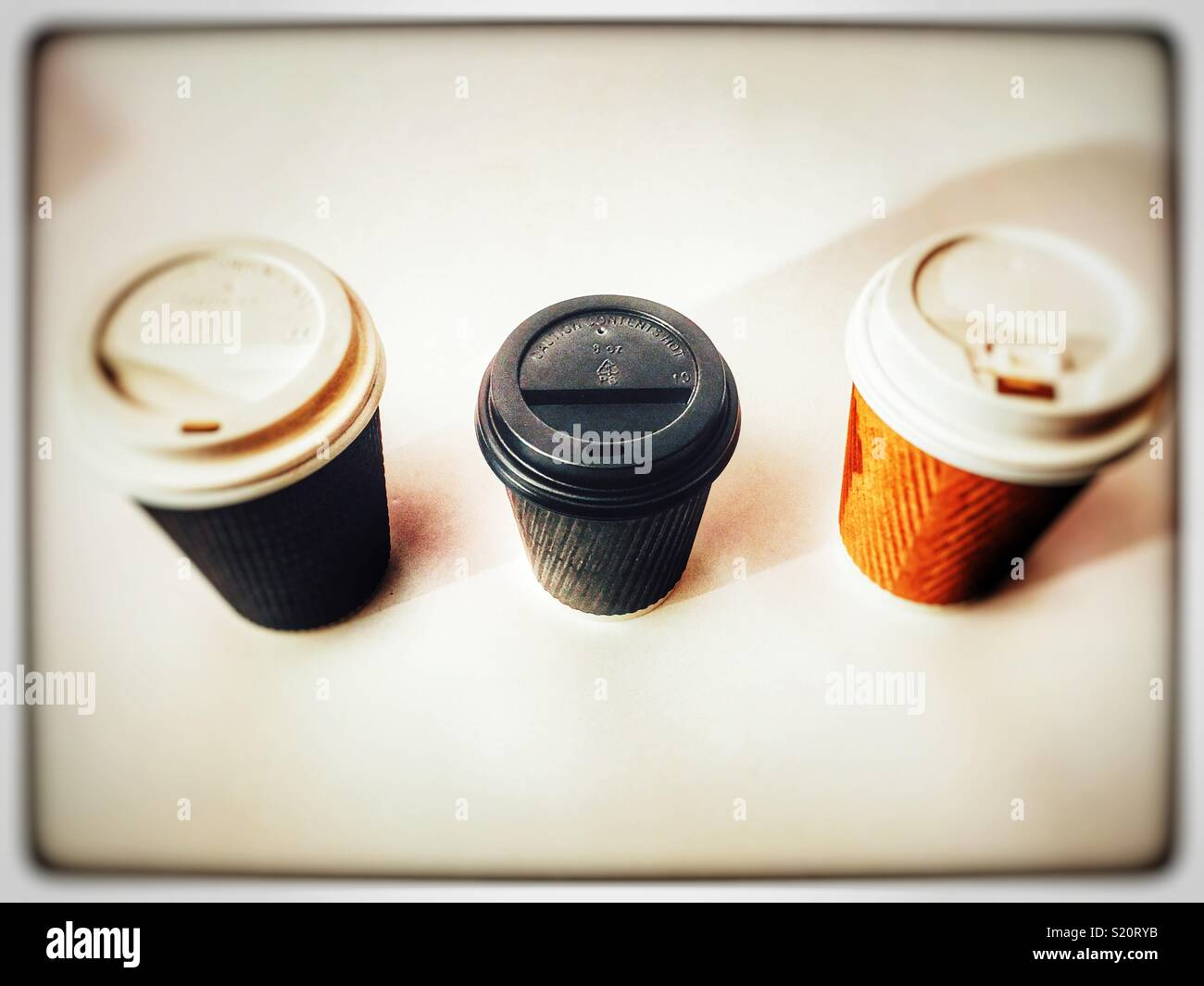 Take away non-recyclable coffee cups - Stock Image