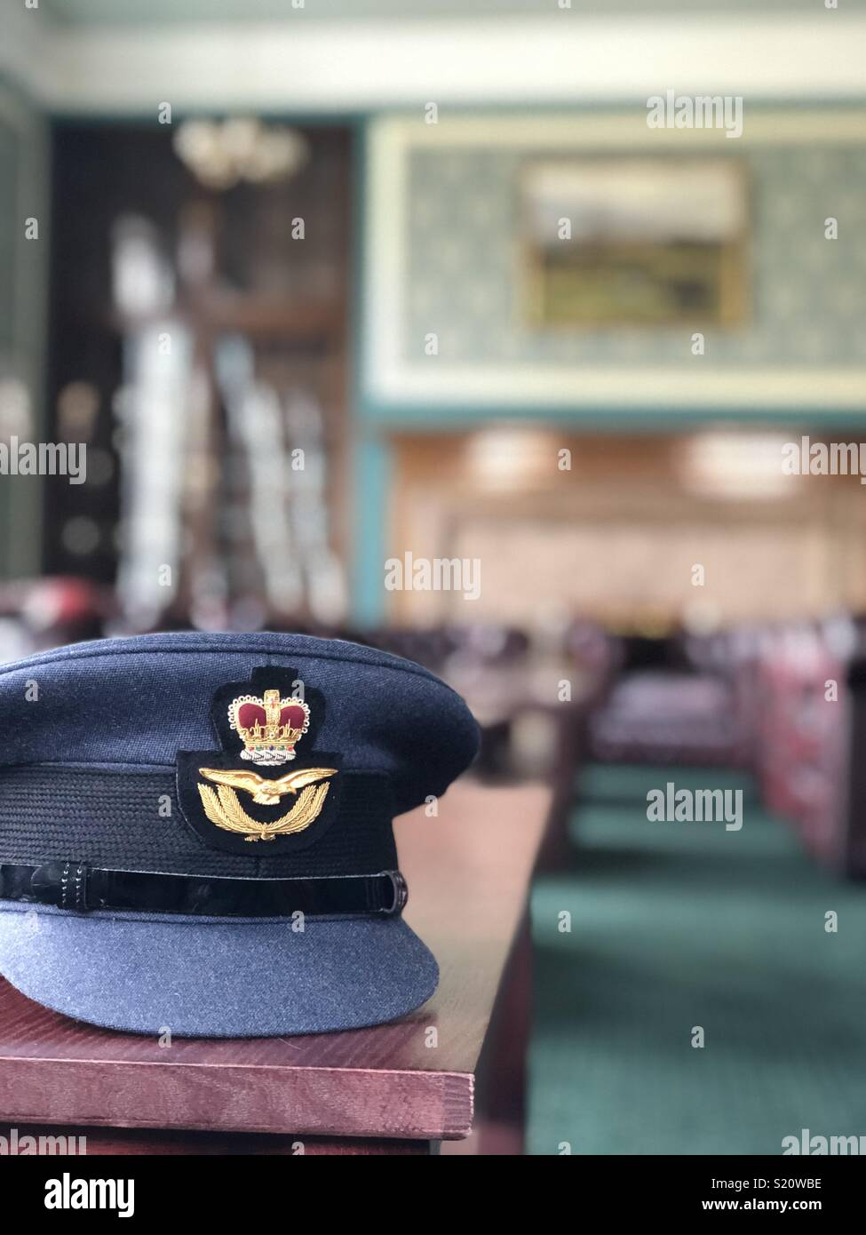 RAF. Officers cap in Officers Mess - Stock Image