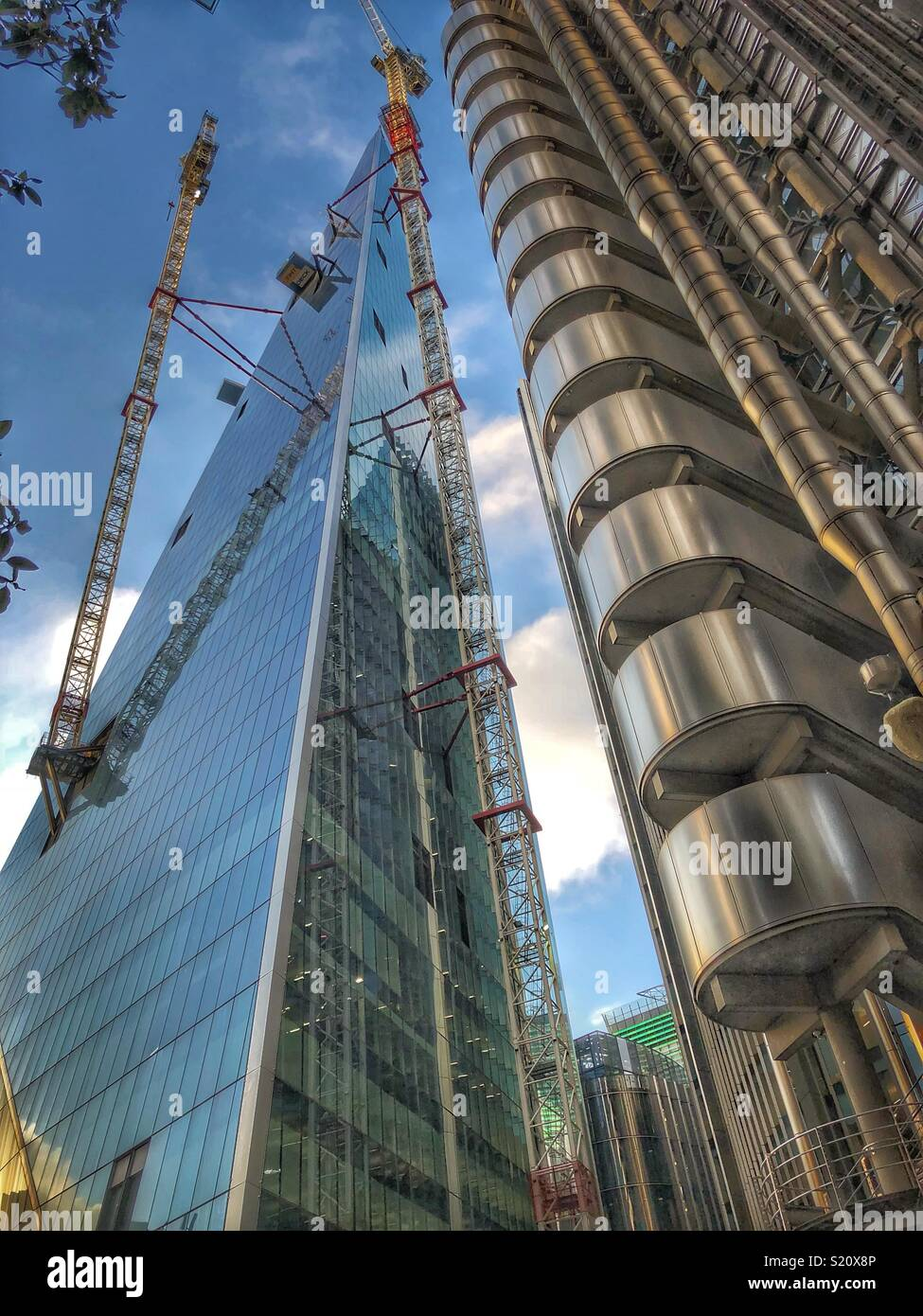 The scalpel building & Lloyds building in London - Stock Image