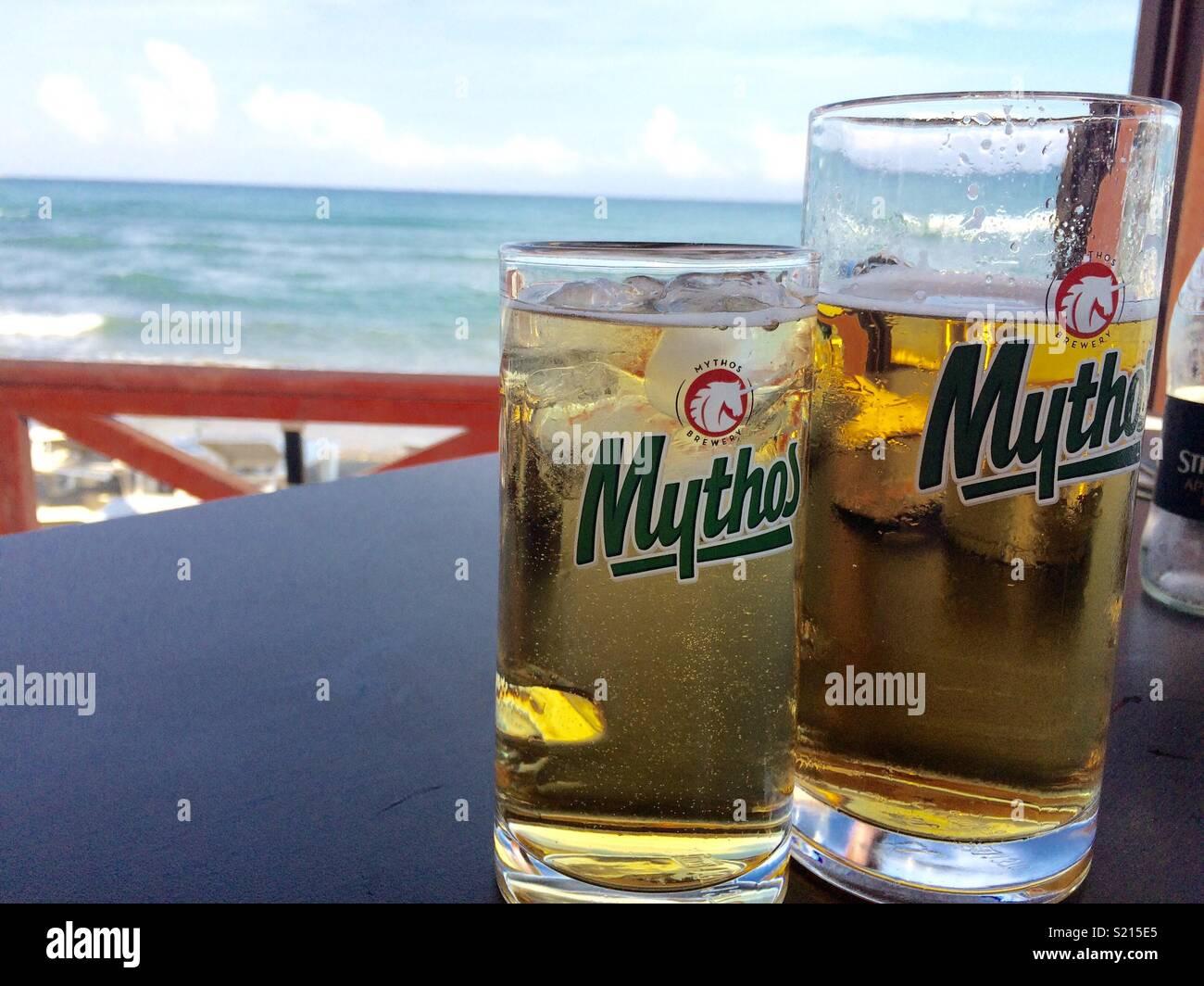 Seaside bar in Zakinthos, Greece Stock Photo
