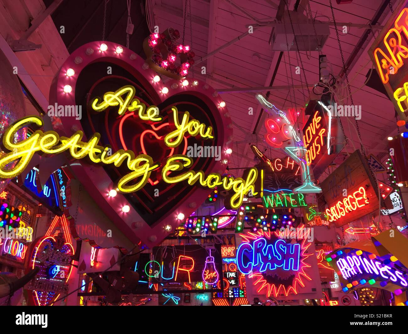 Neon signs at Gods Own Junkyard in Walthamstow - Stock Image