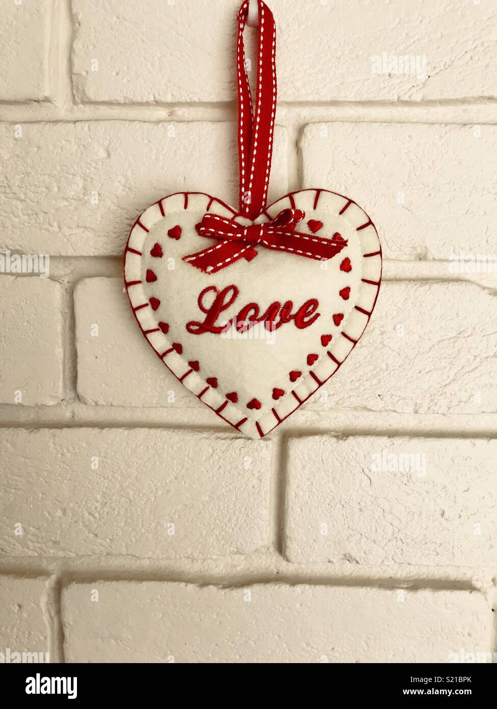 Shabby chic cute love heart decoration - Stock Image