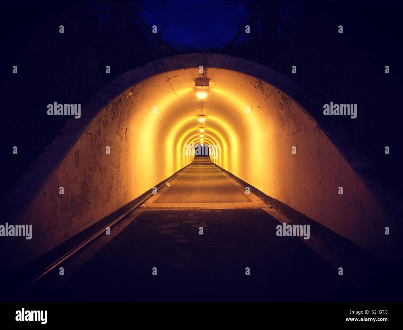 Lights in Tunnel in Birmingham at night. Stock Photo