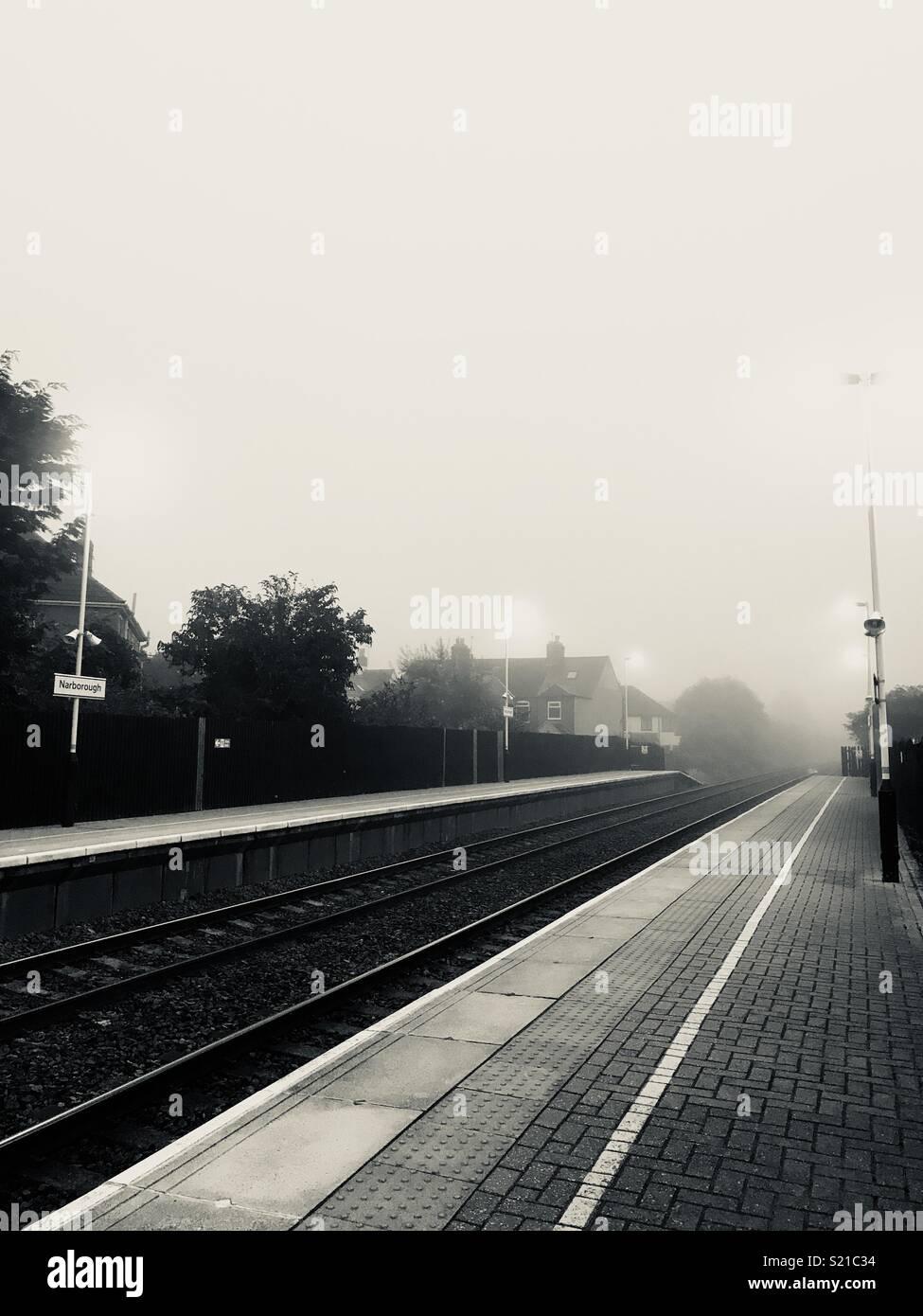 Station Shrouded in Fog - Stock Image