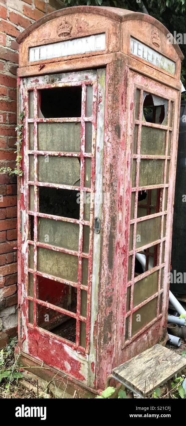 Vintage Red Telephone Kiosk Box K6 . - Stock Image