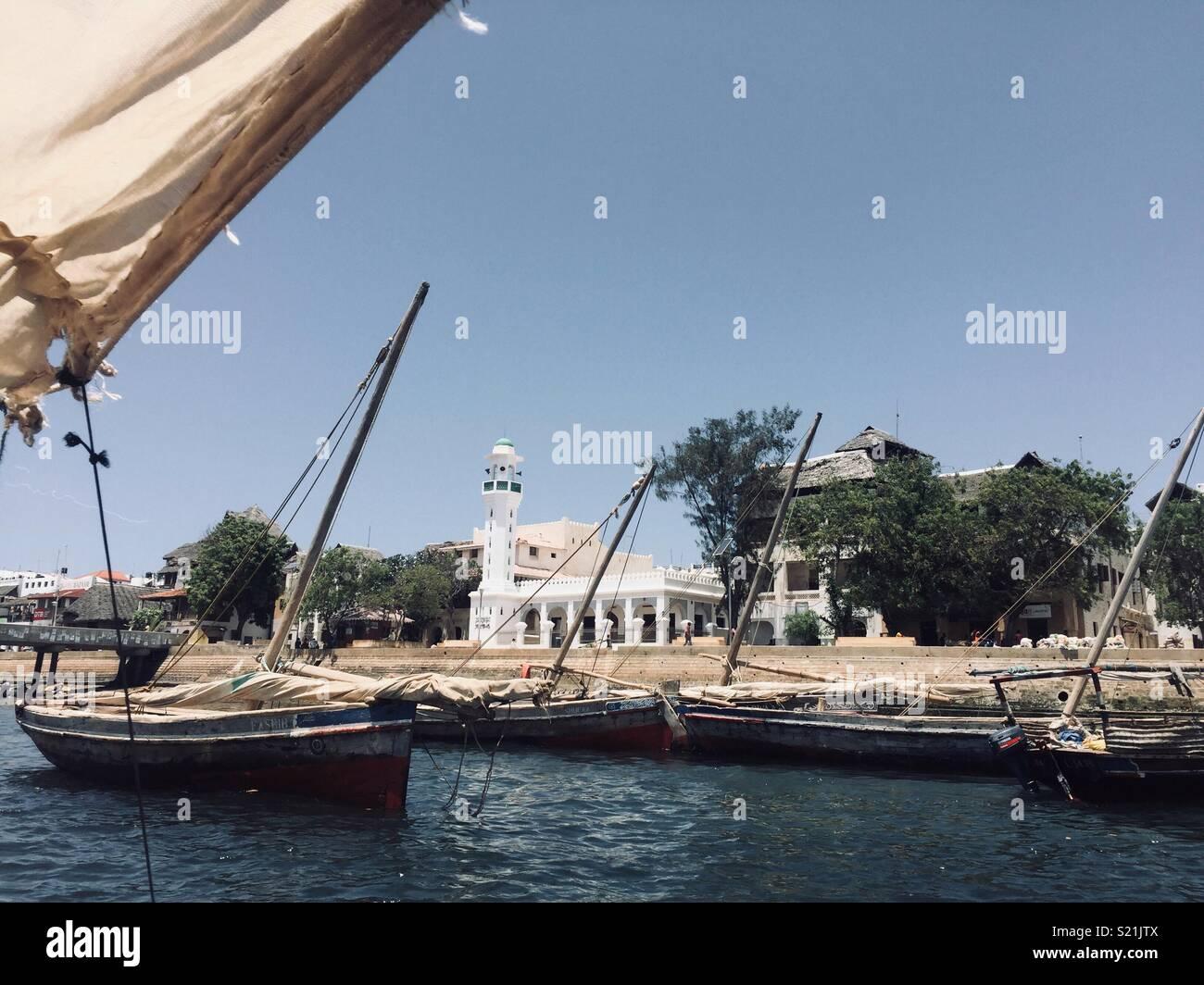 Dhows off Lamu Stock Photo