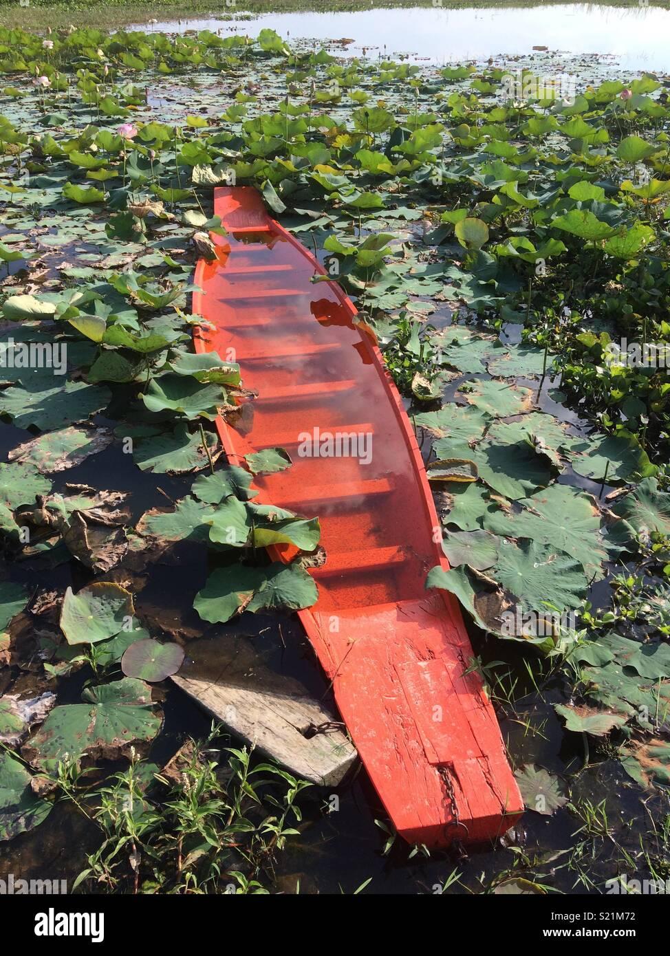 Sunken boat in Buriram Thailand - Stock Image
