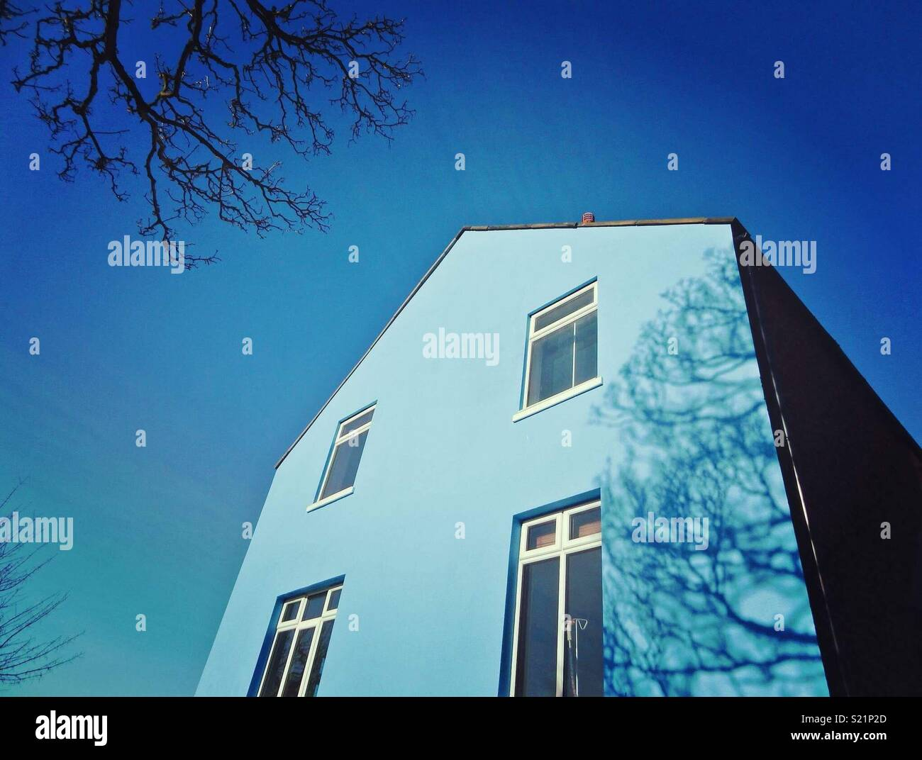 Blue building - Stock Image