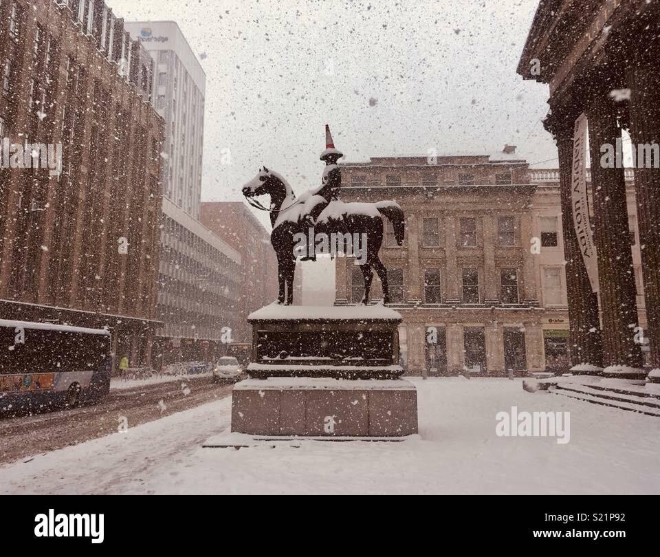 Duke of Wellington in the Snow - Stock Image