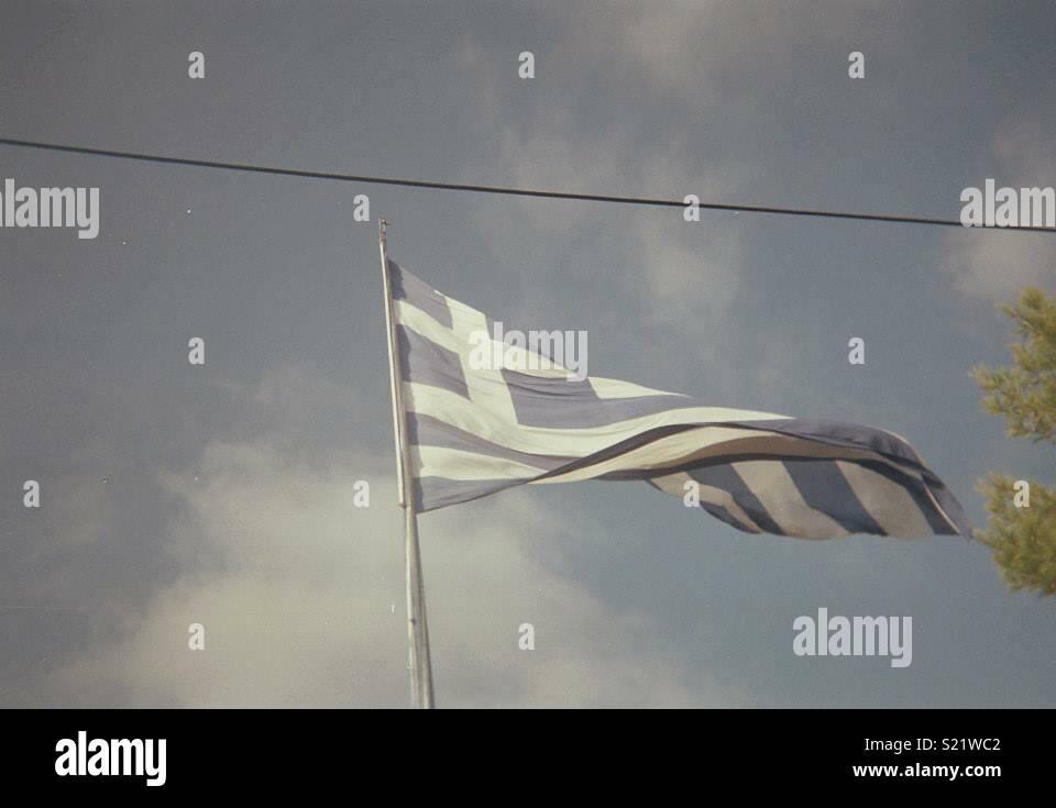 Greek Olympic flag - Stock Image