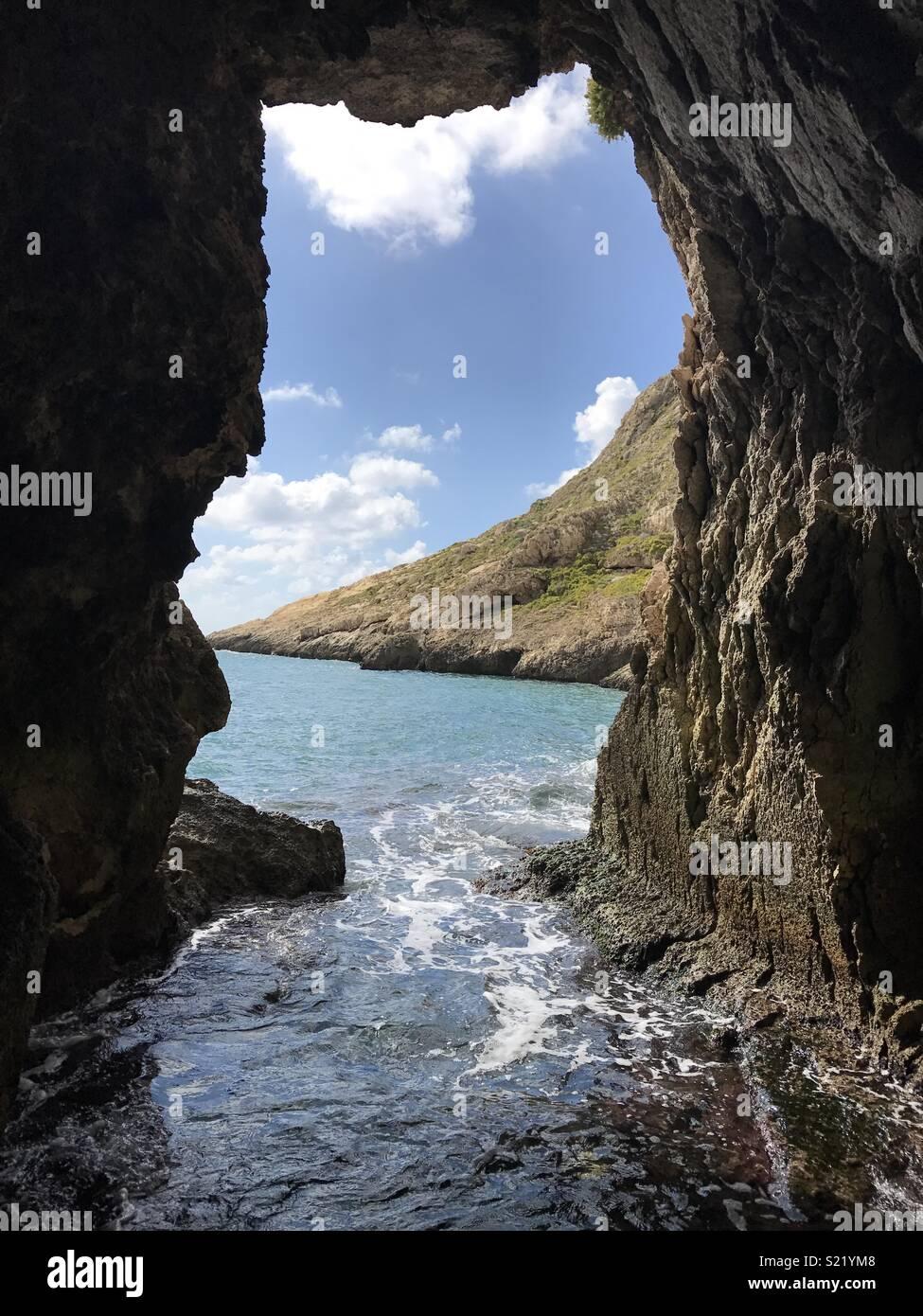 Malta, Gozo sea cave - Stock Image