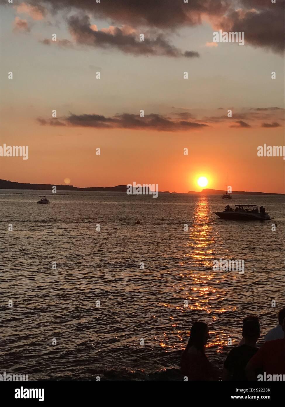 Cafe del mar ibiza sunset - Stock Image