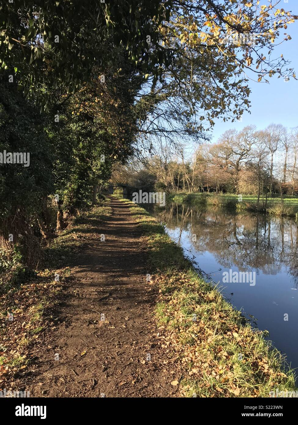 Canal Towpath Autumn - Stock Image