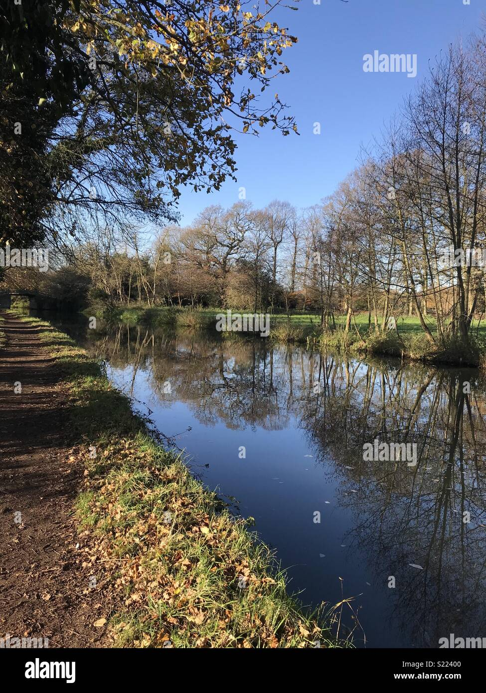 Canal towpath in autumn - Stock Image