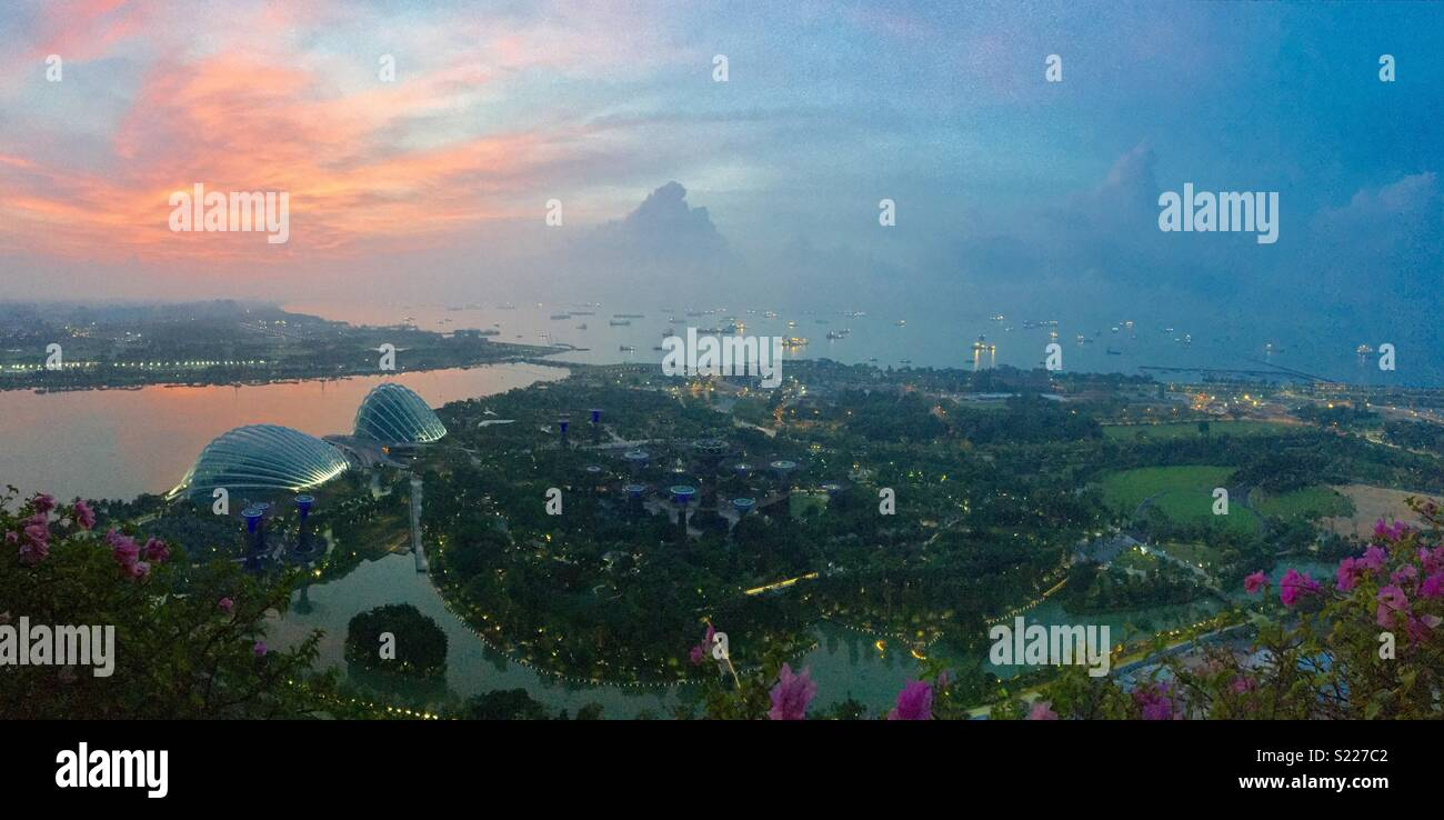 Singapore's Gardens by the bay and Singapore Harbour at sunrise - Stock Image