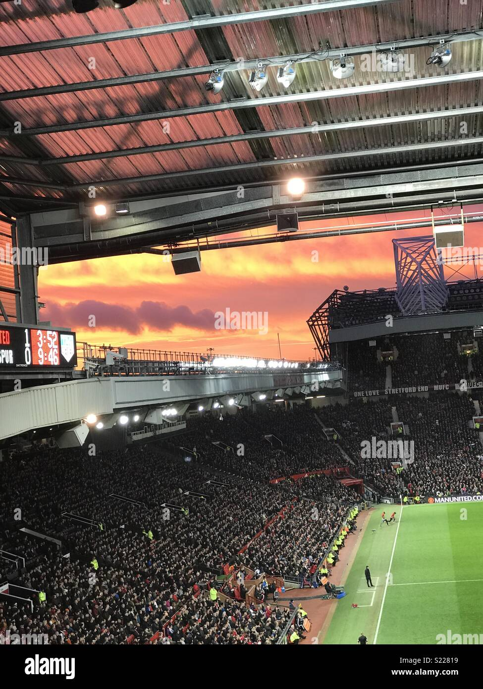Sunset at old Trafford - Stock Image