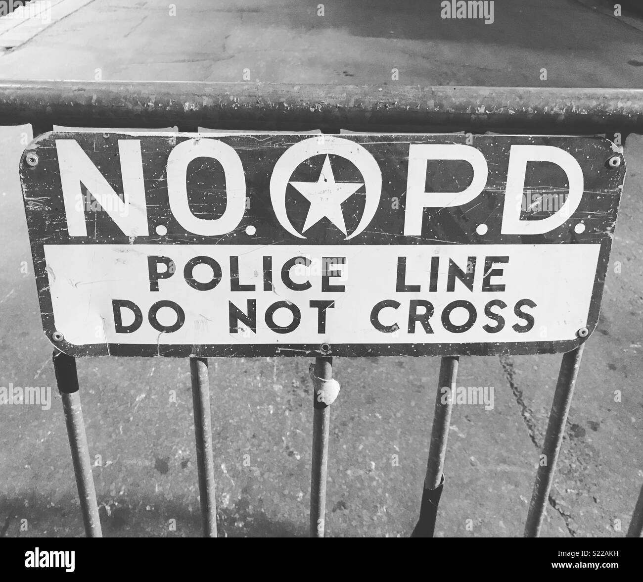 New Orleans Police Department barrier on Bourbon Street, New Orleans. - Stock Image