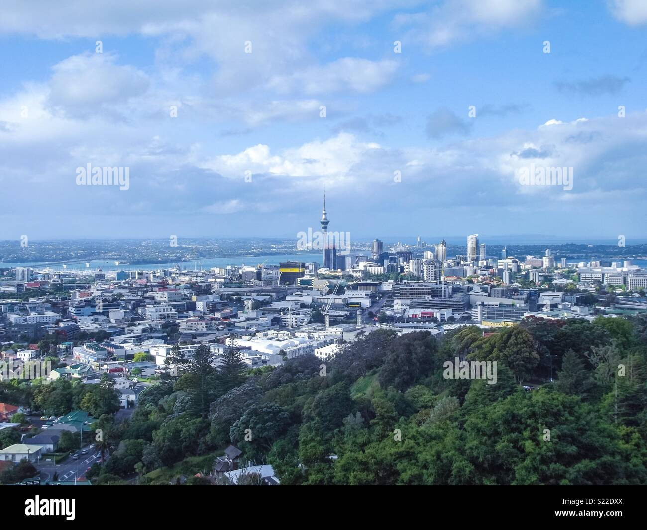 A view of Auckland from Mt Eden, New Zealand. - Stock Image