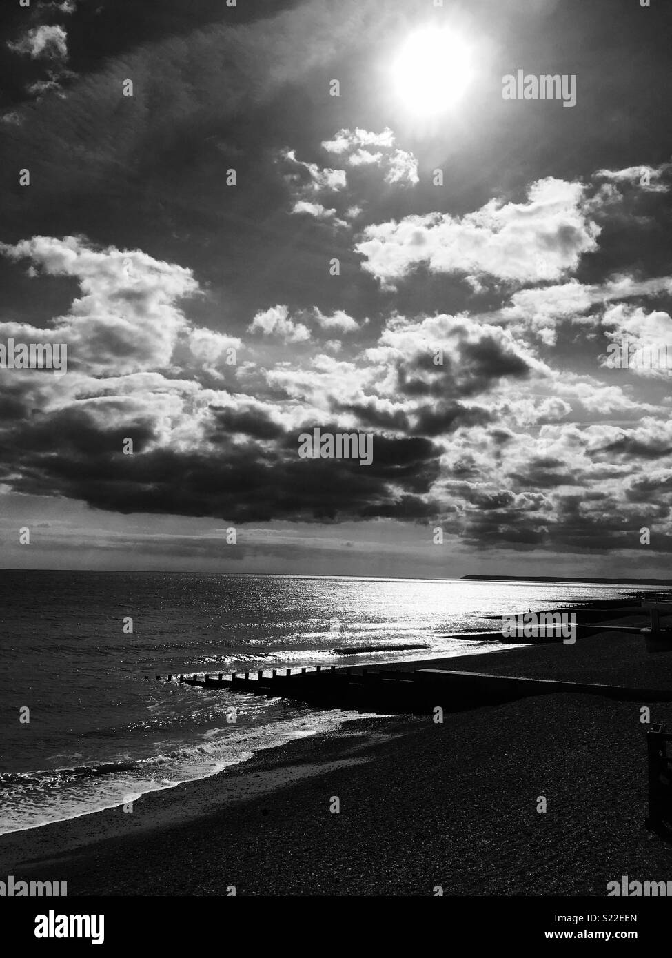 Black and white cloudy skies - Stock Image