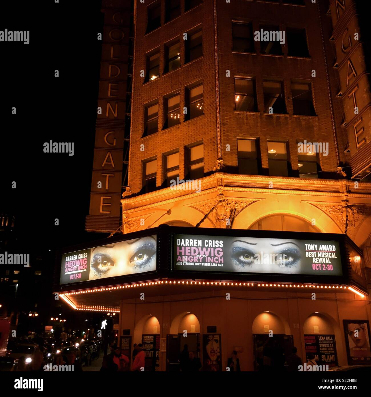 Golden Gate Theatre at night during the run of Hedwig and the Angry Inch starring Darren Criss - Stock Image