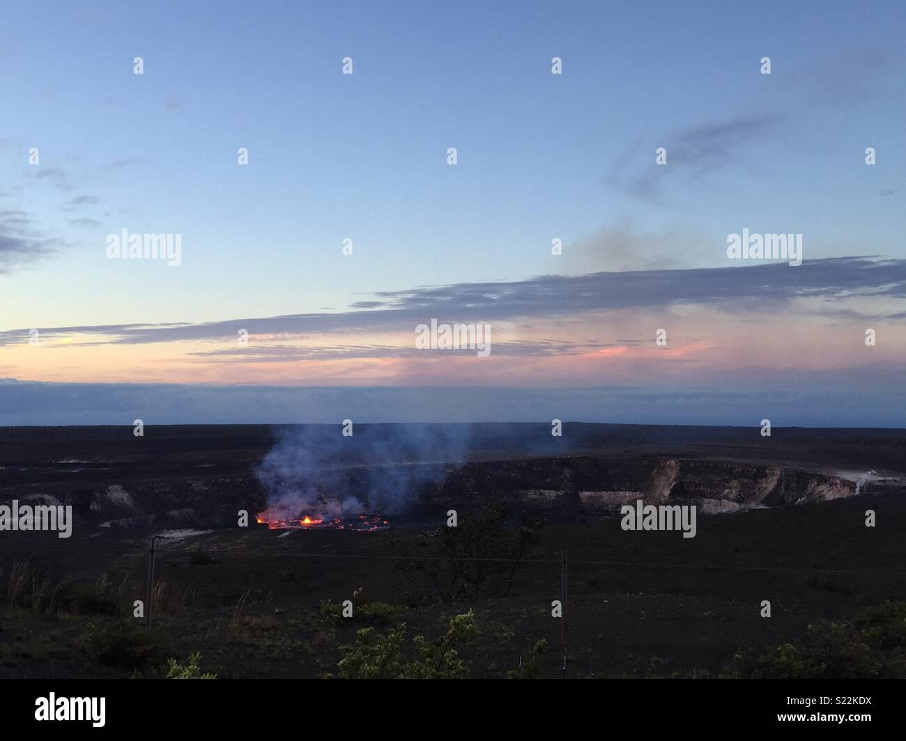Kilauea Volcano summit from the Jaggar Museum lookout in Hawaii Volcanos National Park. Taken on 24th April 2018 - Stock Image