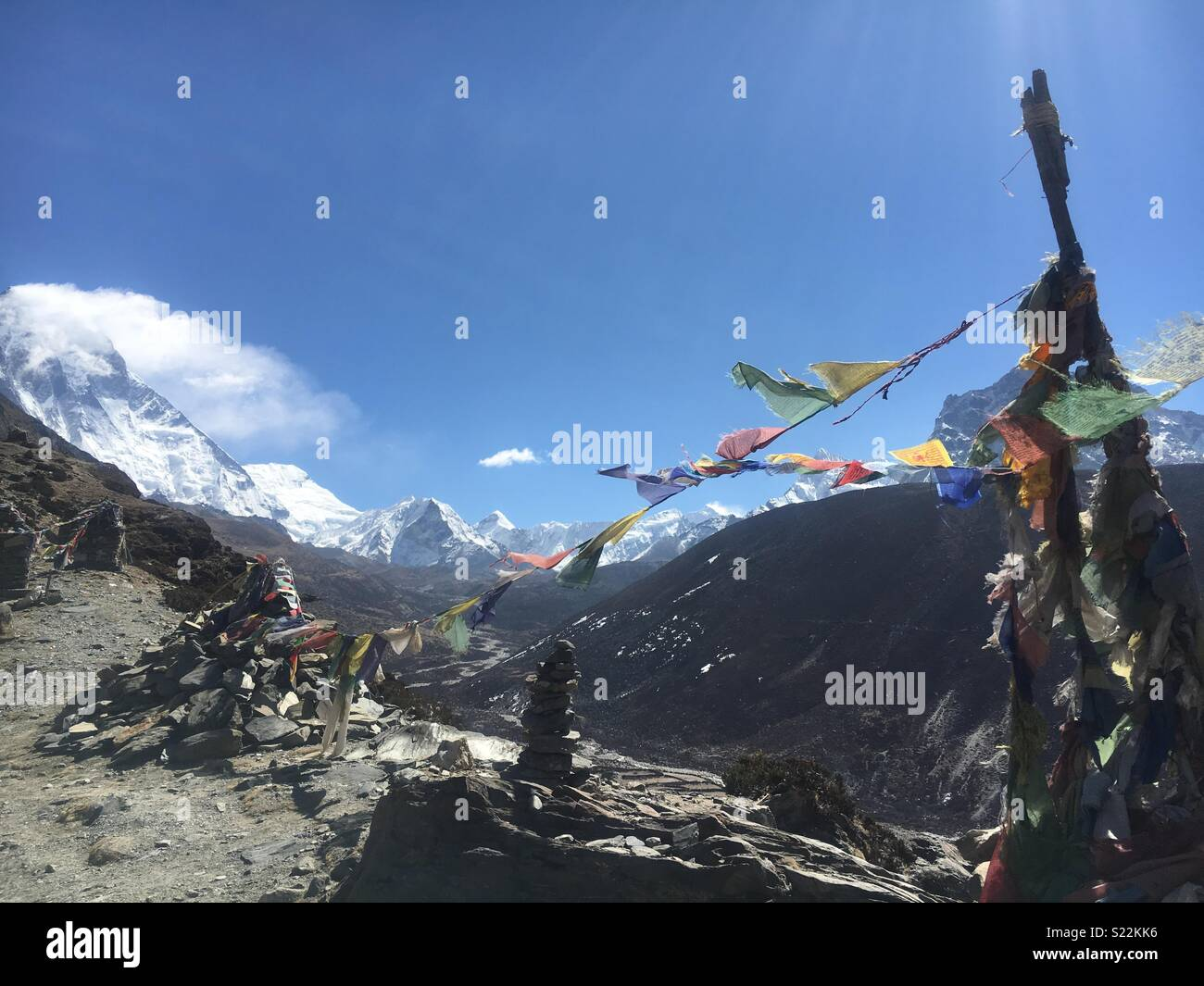 Prayer flags in the wind - Stock Image