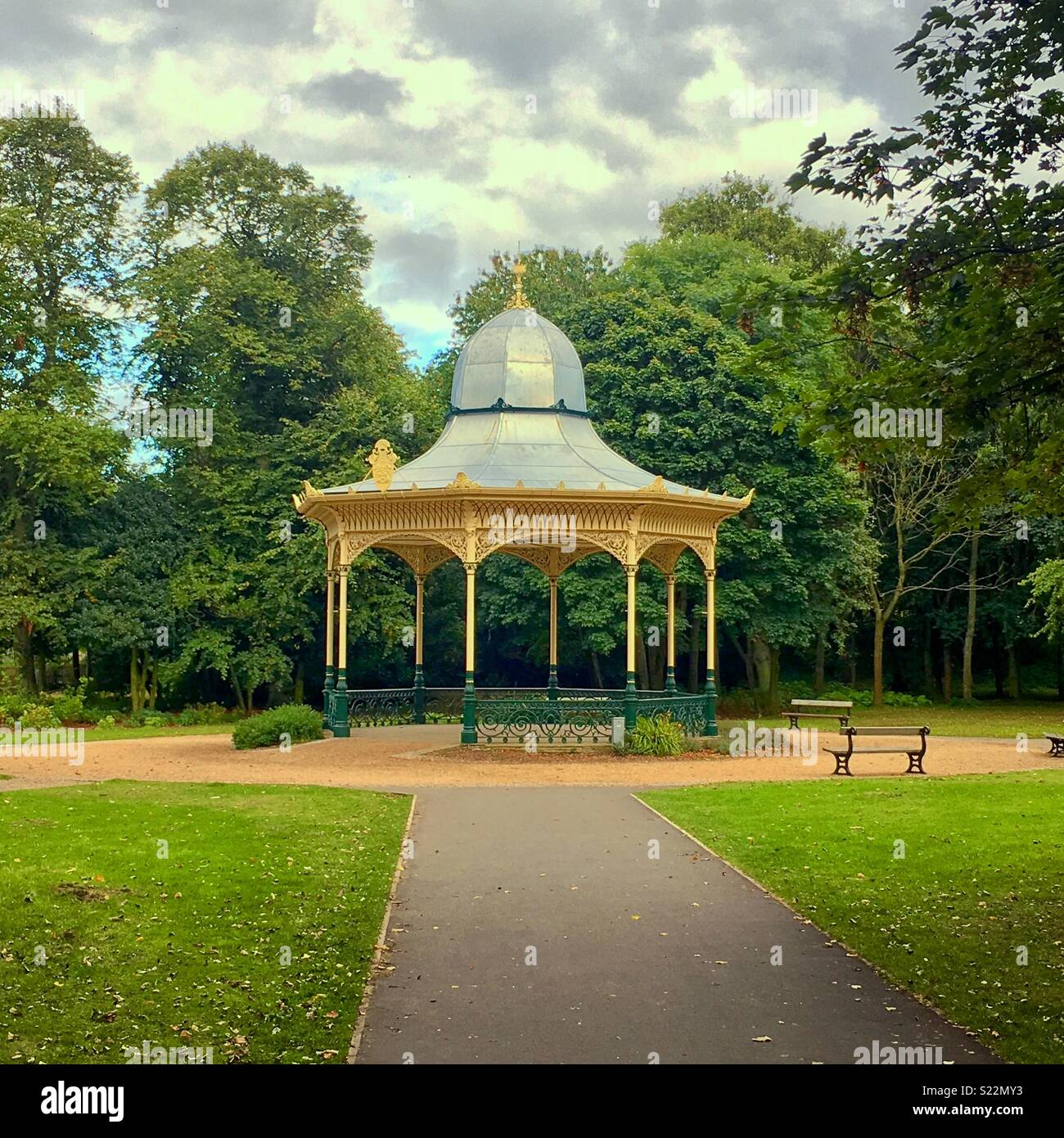 Bandstand at Exhibition Park, Newcastle upon Tyne, UK - Stock Image
