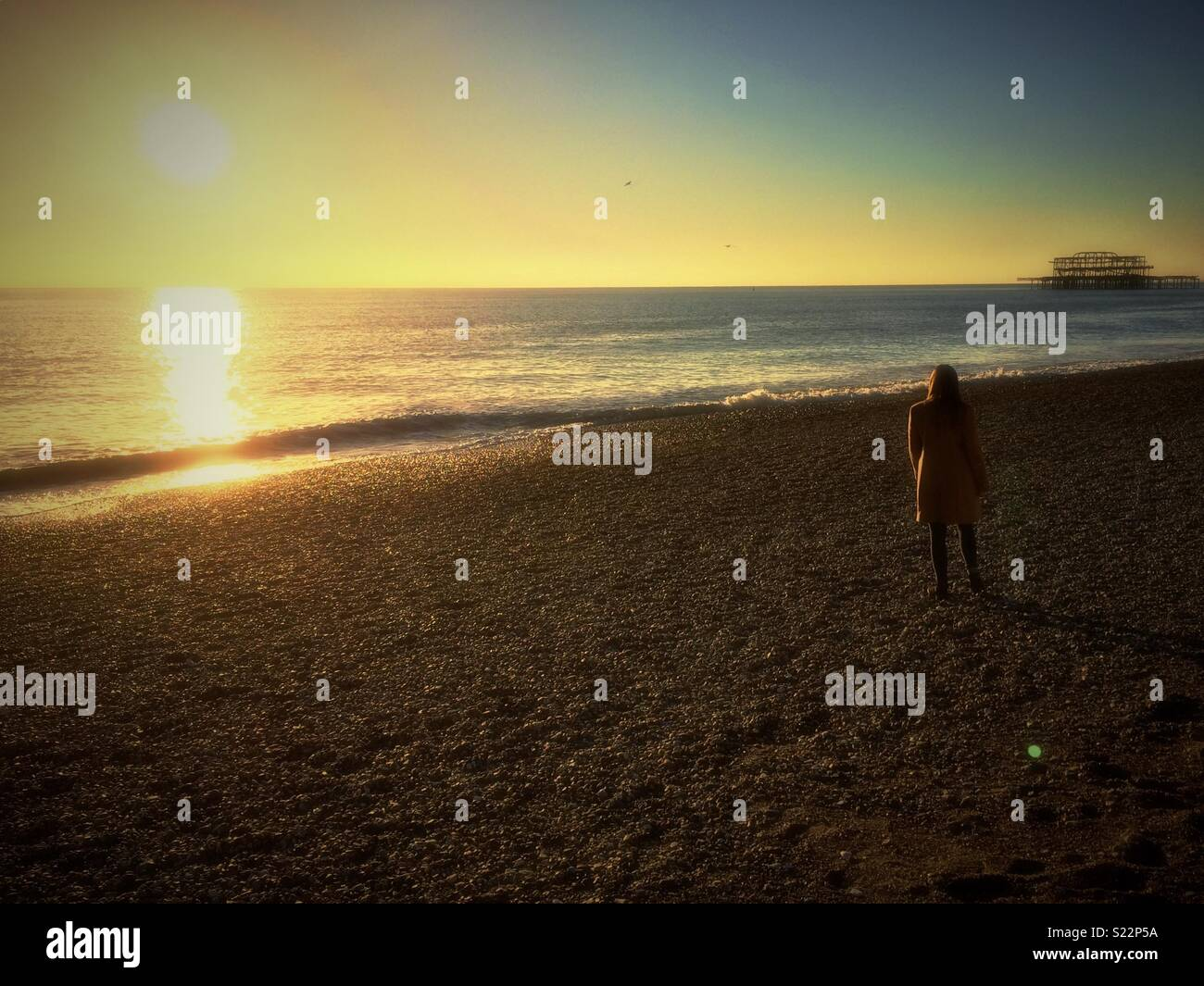 Woman standing on beach at sunset - Stock Image