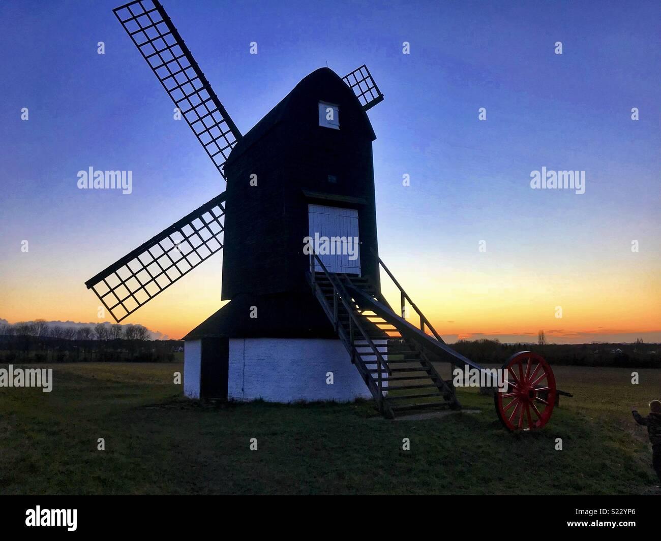 Pitstone windmill sunset - Stock Image