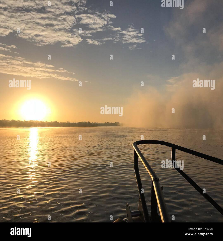 Foggy morning on the Exe Estuary at sunrise - Stock Image