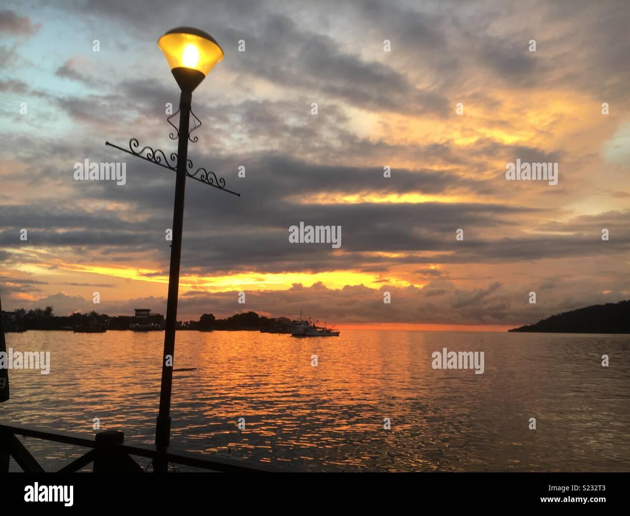 Sunset in Kota Kinabalu - Stock Image