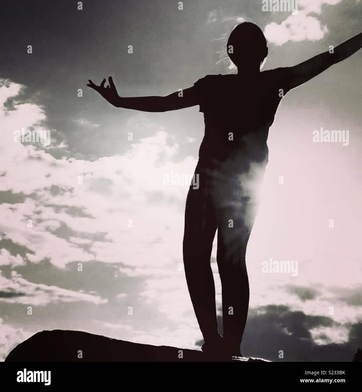 Sunny day mono shot pose - Stock Image