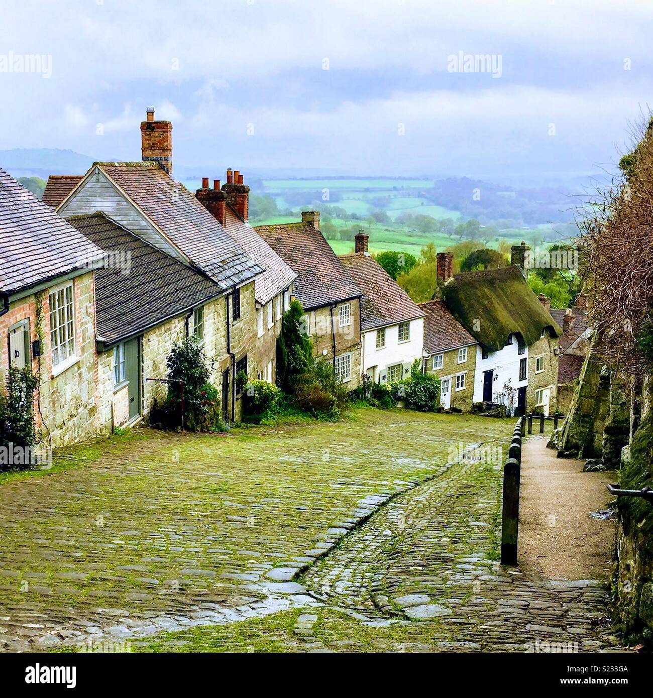 Gold Hill Shaftesbury Dorset - Stock Image