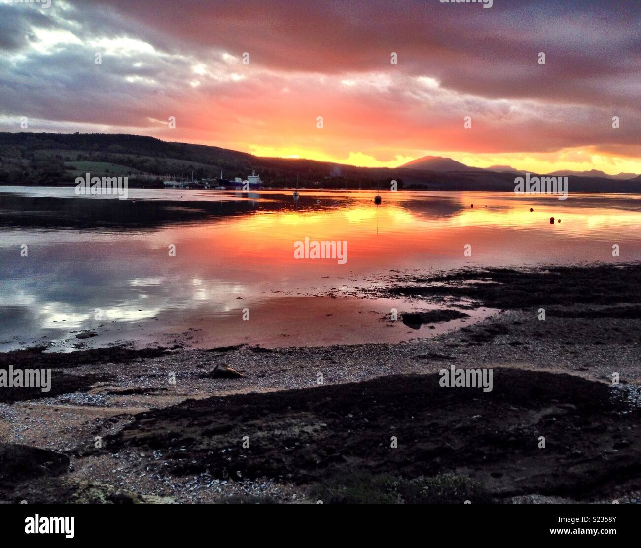 Gareloch in Scotland at sunset. - Stock Image