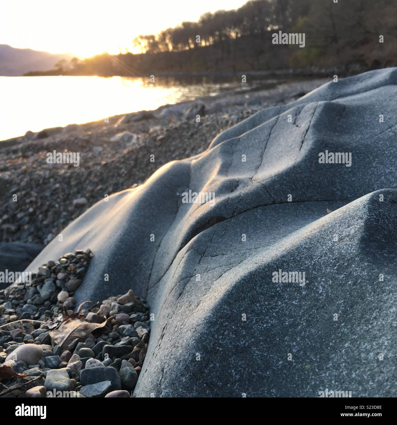 Unusual smooth rock at Loch Maree - Stock Image