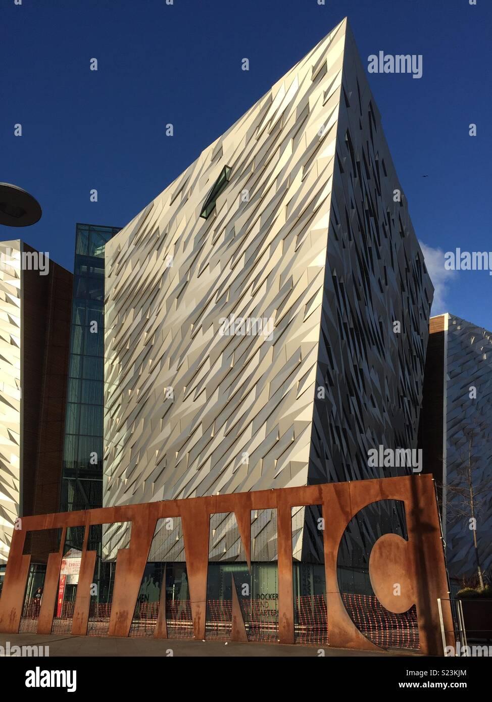 Titanic museum Belfast, sunny day - Stock Image