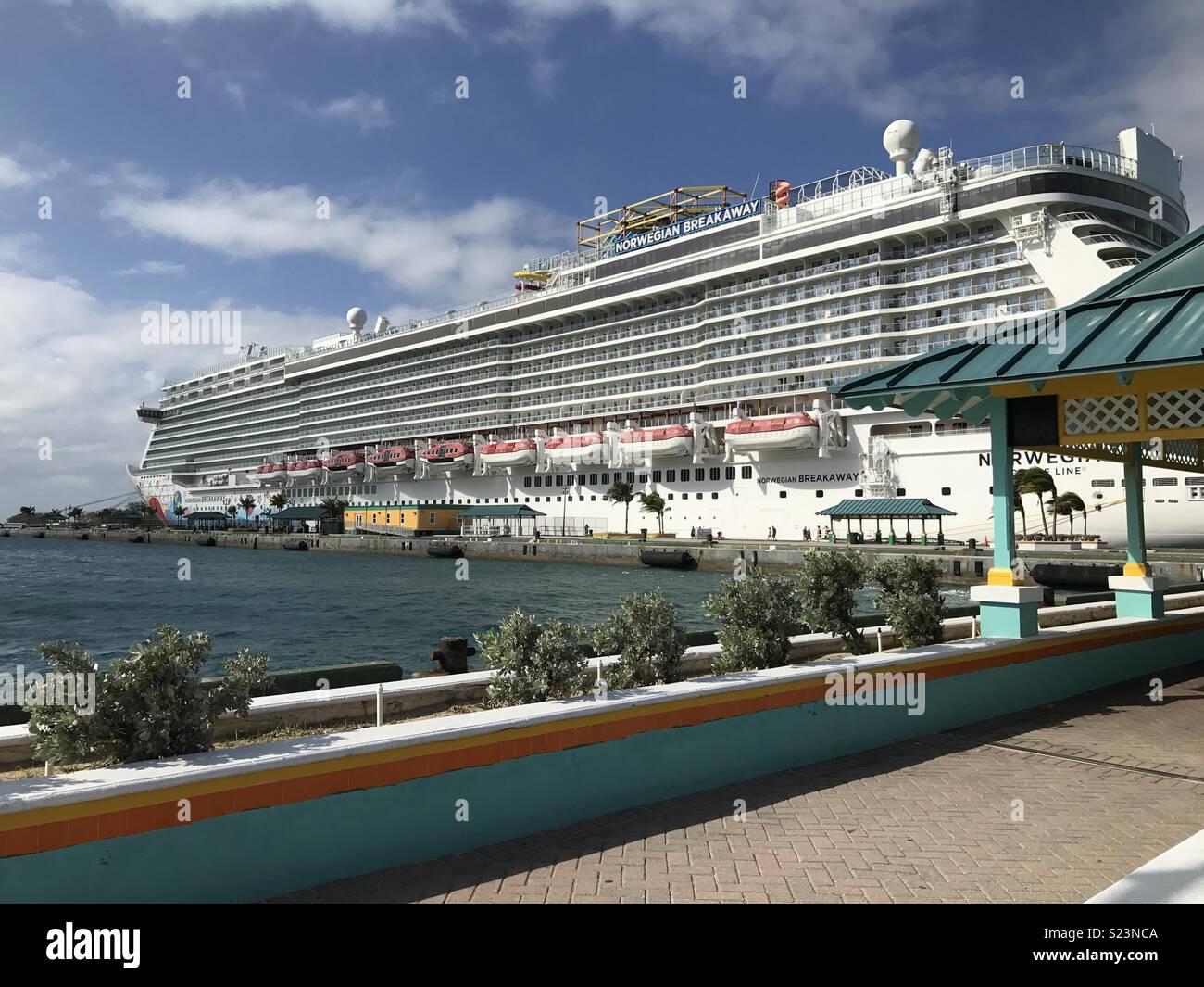 NCL Breakaway, Cruise Ship docked in Nassau. - Stock Image