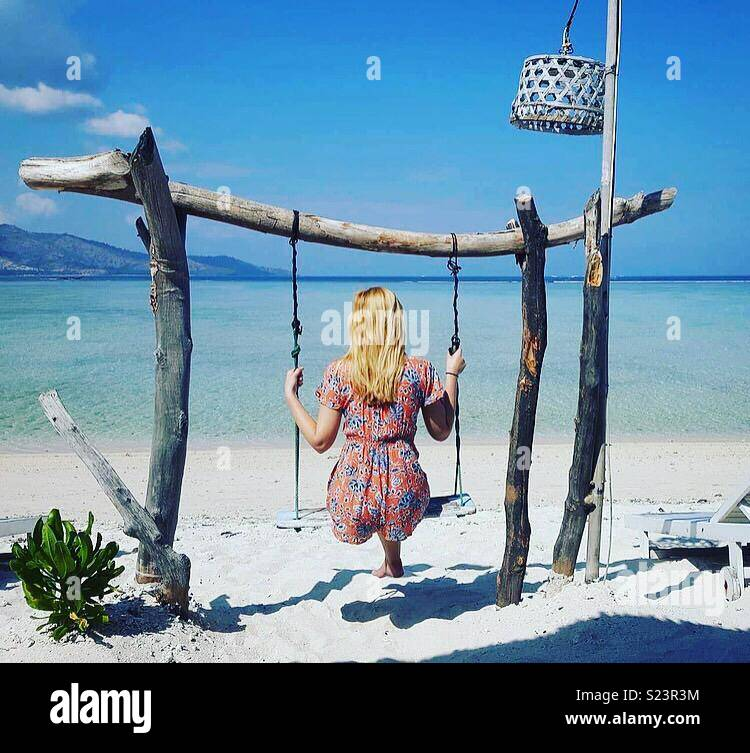 Gili air swing goals - Stock Image