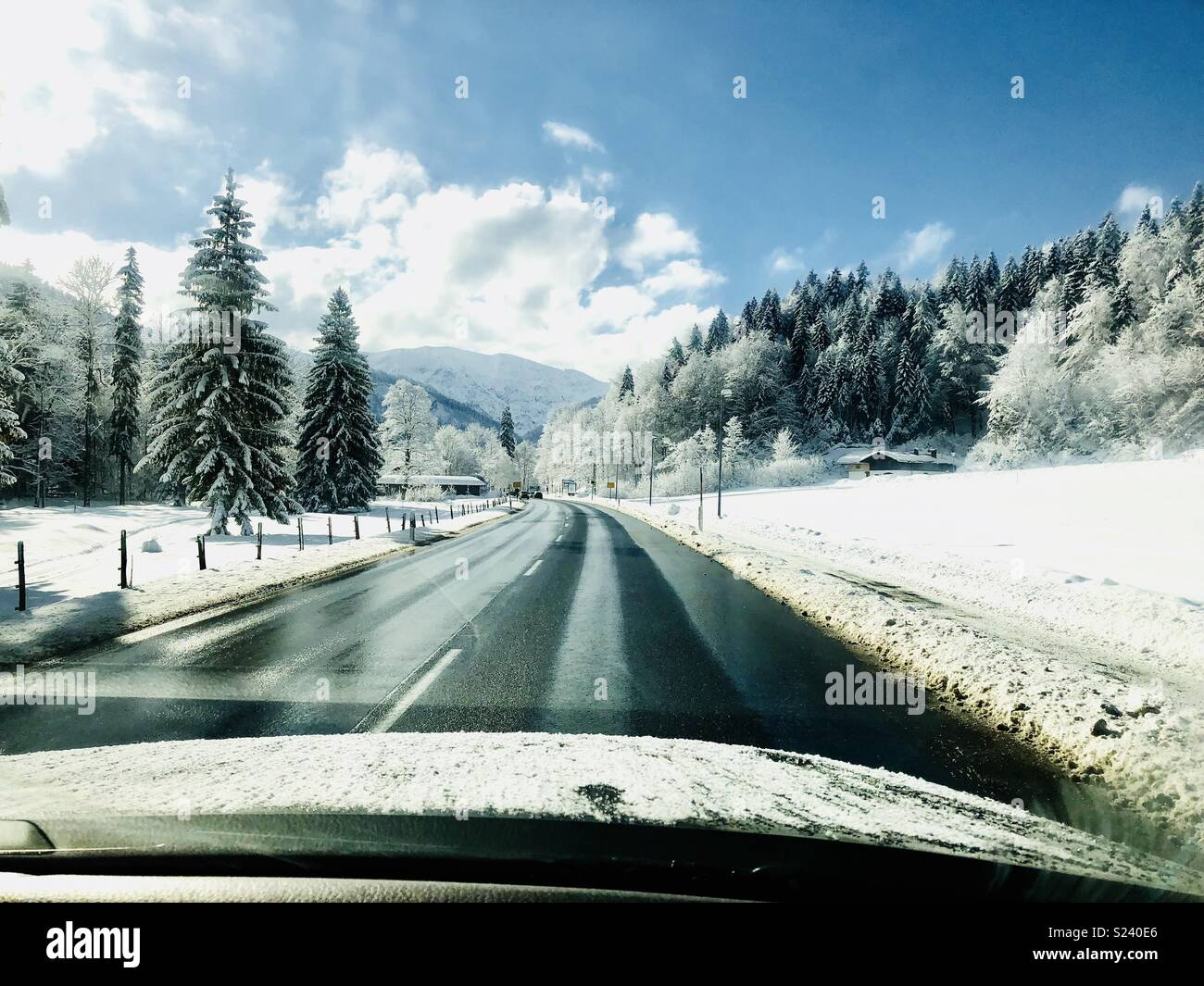 Road through Winter Wonderland with snowcovered Trees - Stock Image