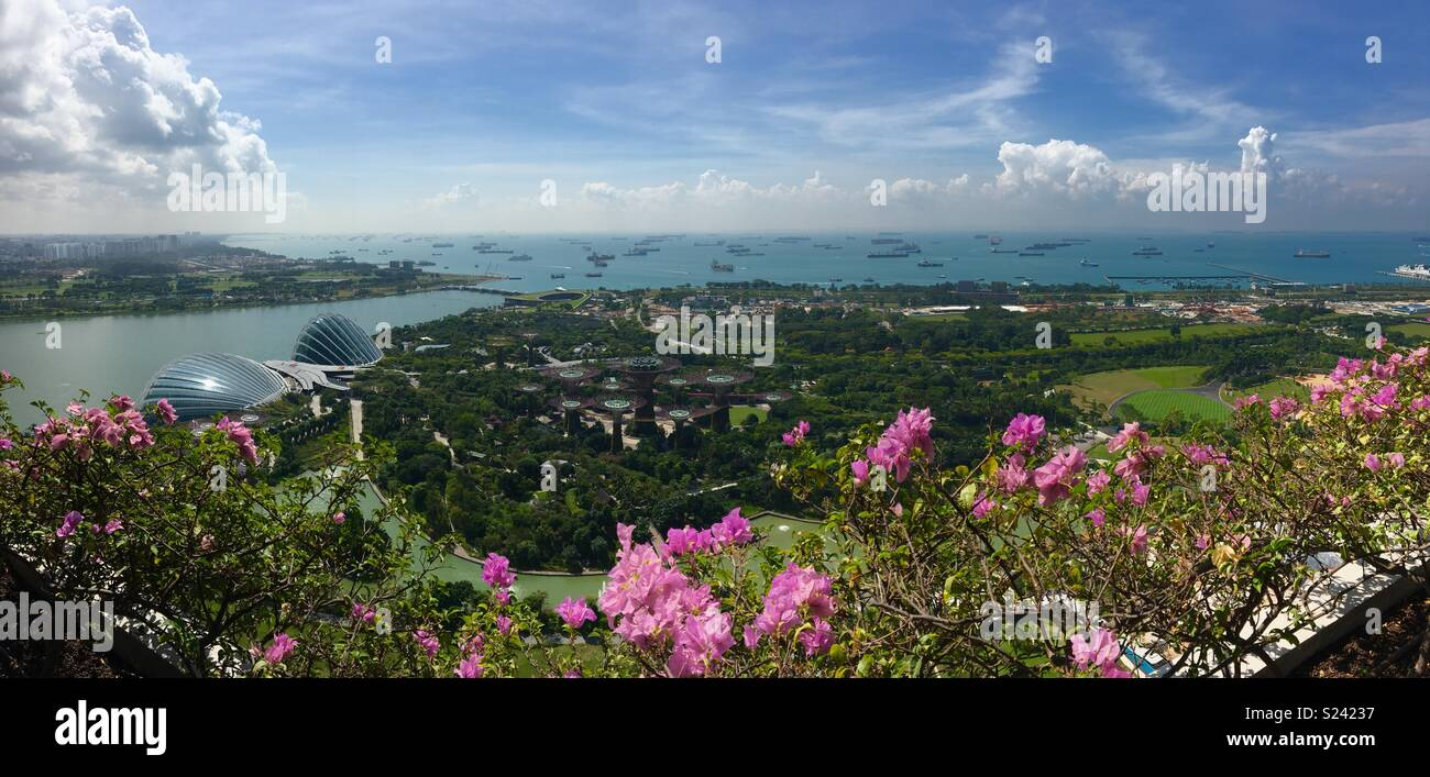 Singapore's Gardens by the bay and harbour from balcony at Marina Bay Sands Hotel - Stock Image