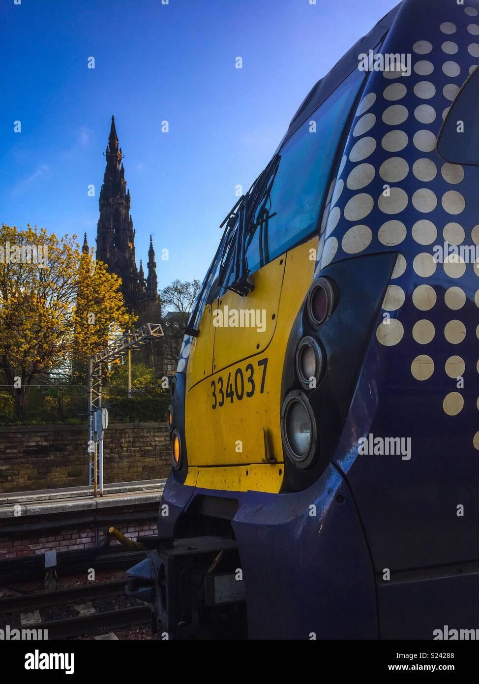 Train in Edinburgh, Scotland - Stock Image