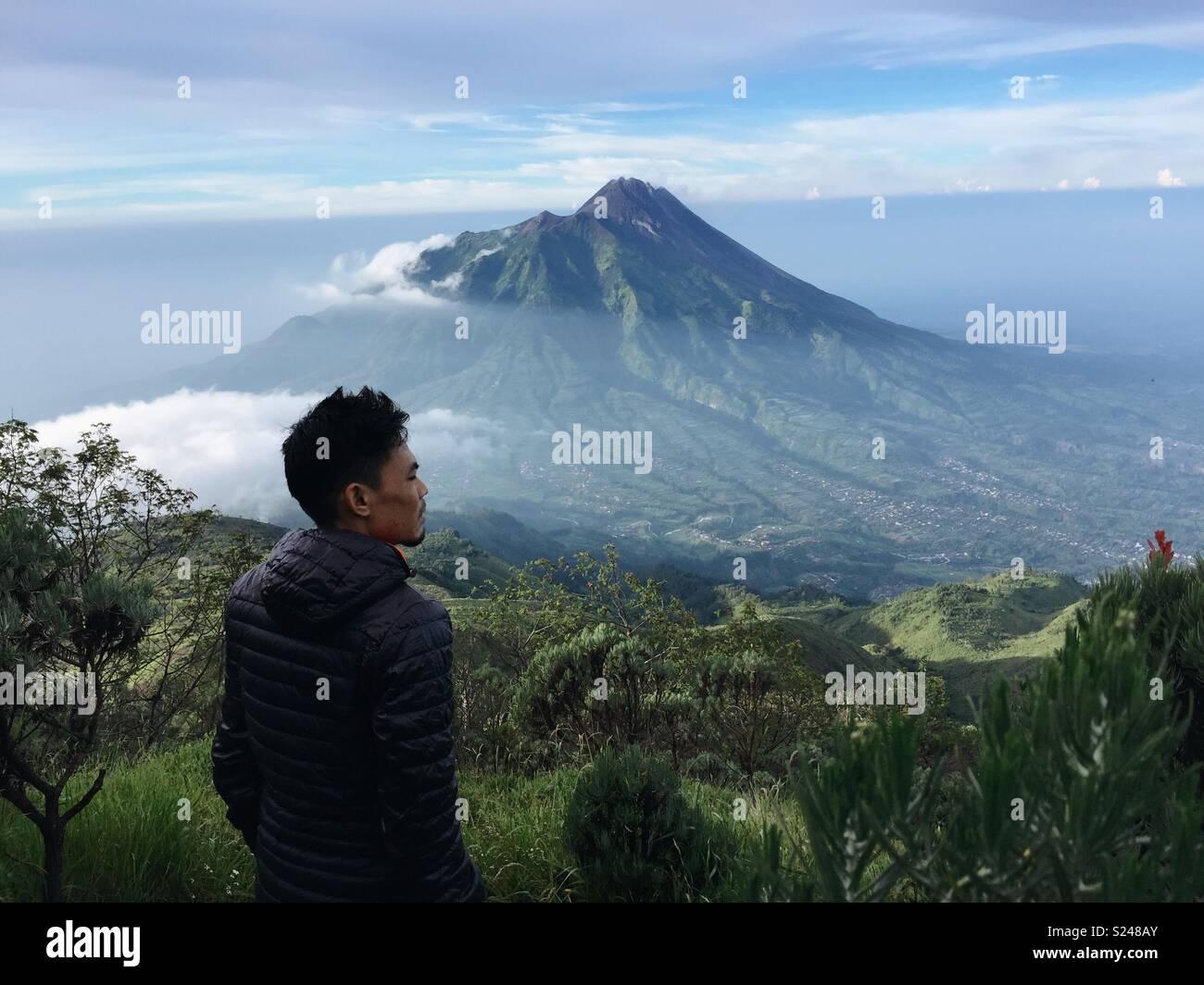 Mount Merapi from Mount Merbabu - Stock Image