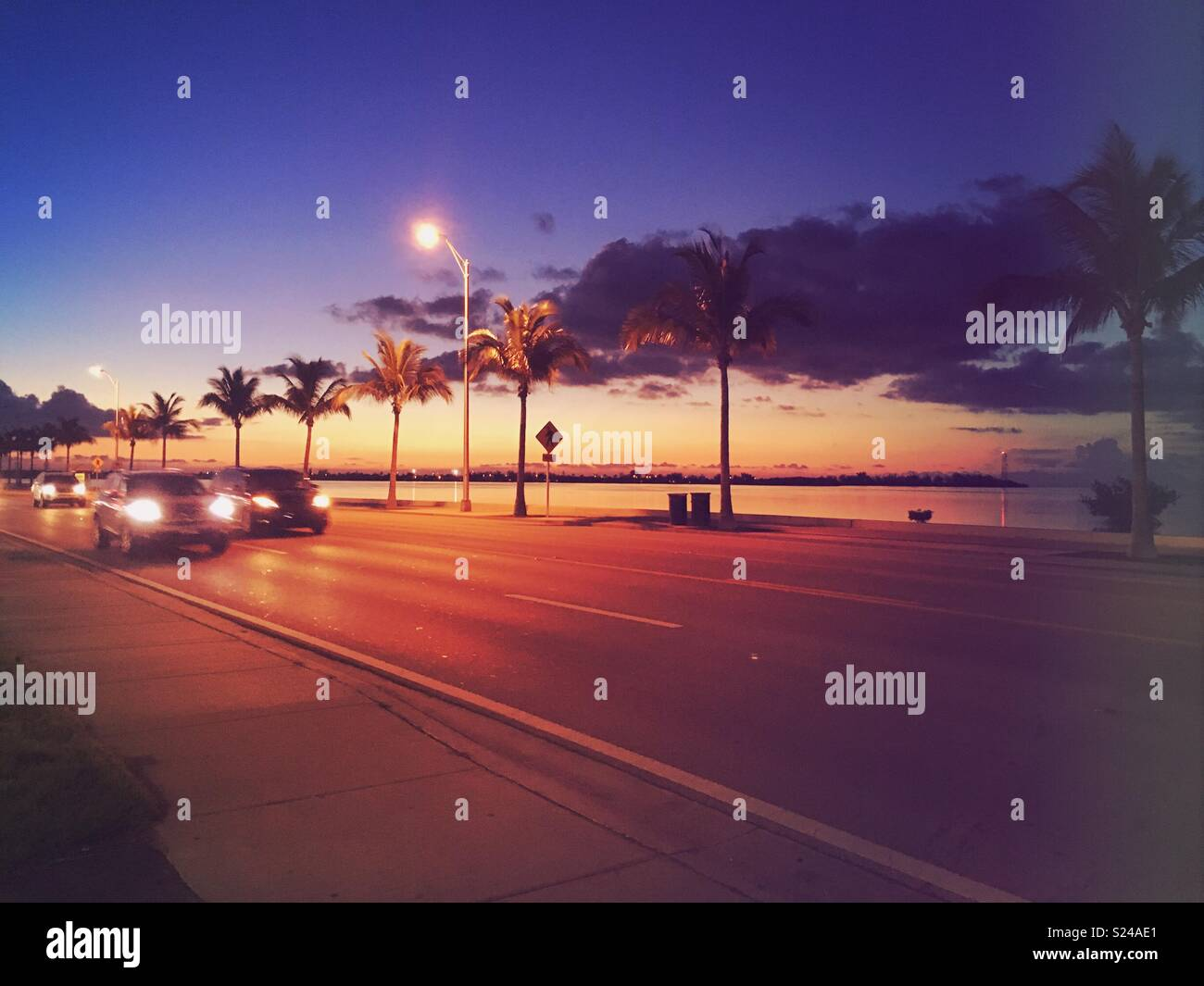 Sunset along the Highway in Key West, Florida Keys. Stock Photo