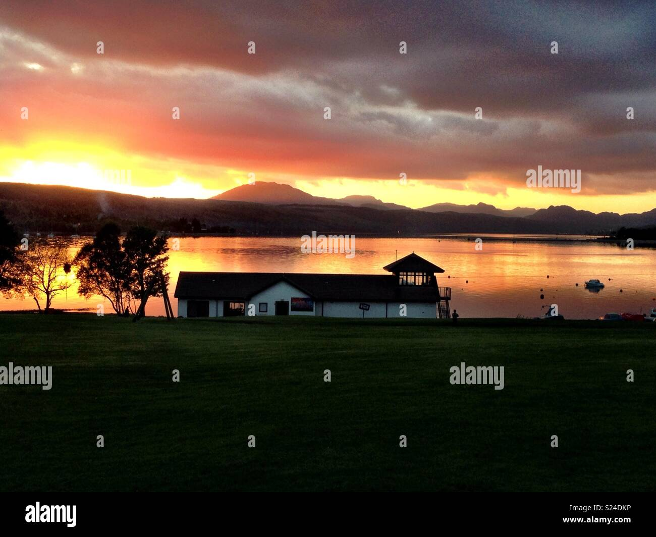 Roseneath Caravan Park in the banks of the Gareloch in Scotland at sunset - Stock Image