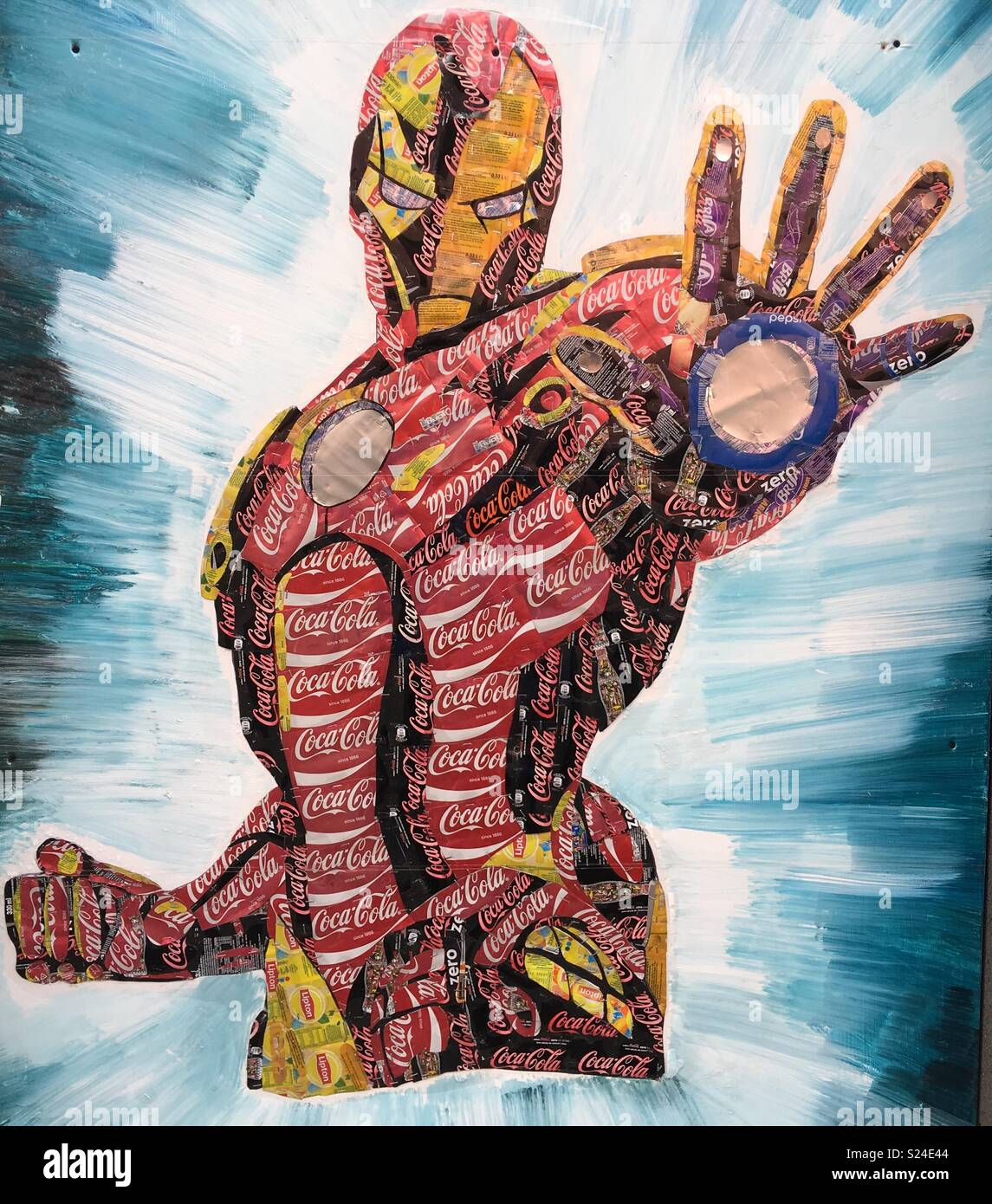 Collage of the Marvel comics character Iron Man, made from Coca-Cola ...