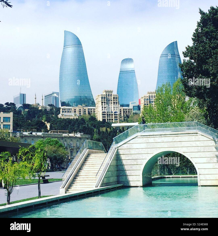 The Flame Towers as seen from the Mini Venice area of the Baku Boulevard, Baku, Azerbaijan - Stock Image