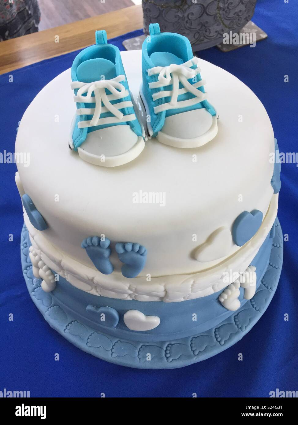 Baby boys christening cake - Stock Image