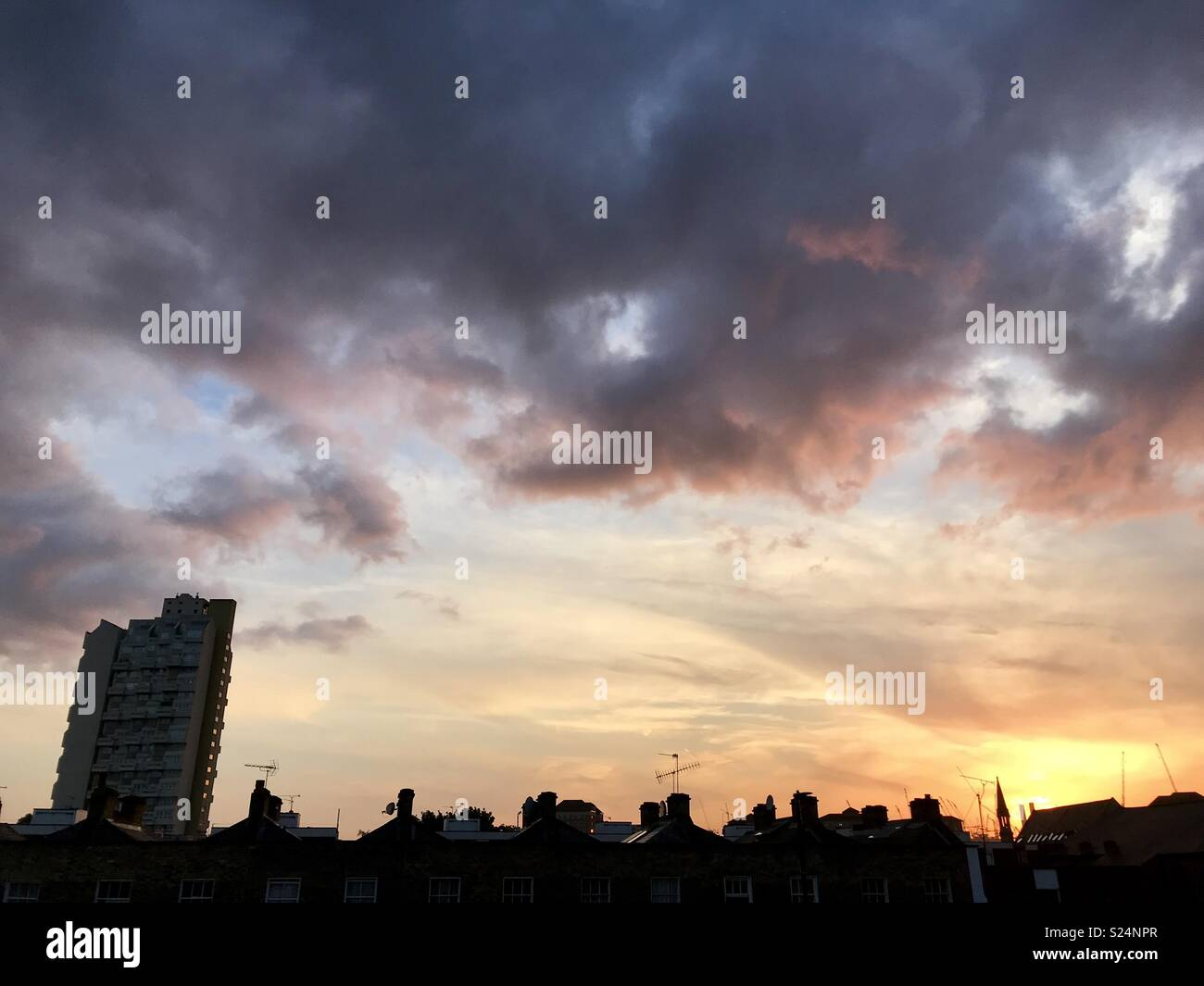 Sunset in Stockwell London - Stock Image