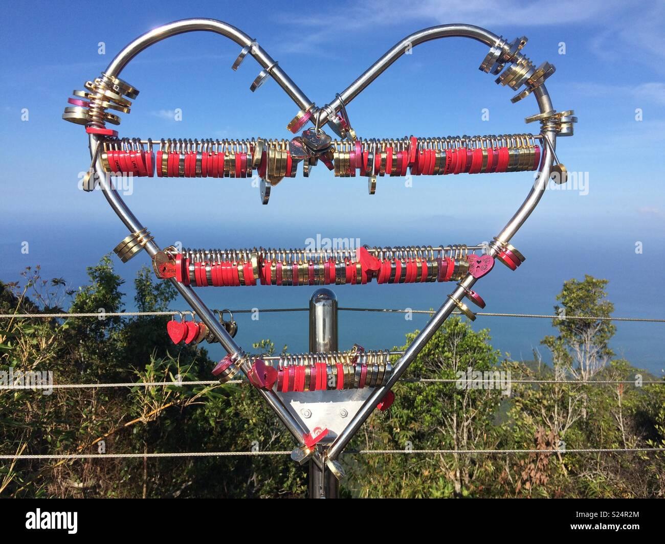 Love locks on Skybridge - Stock Image