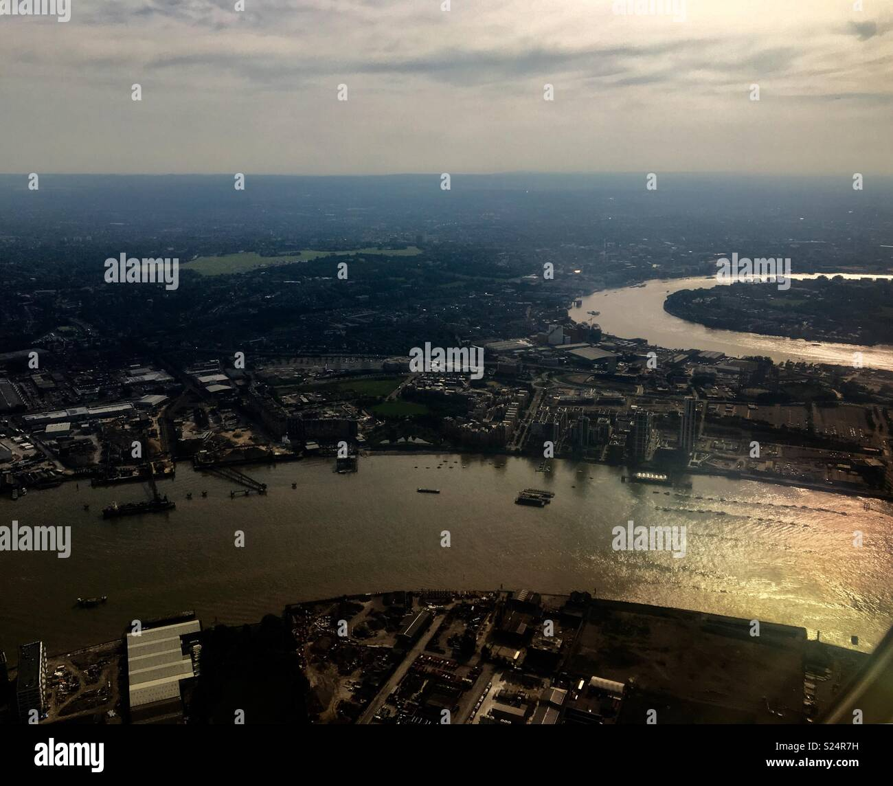 The Thames from the air - Stock Image
